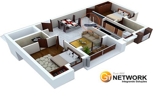 Exemplo do melhor posicionamento do roteador wireless em sua casa.